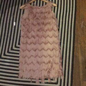 Zara fringe pink mini dress